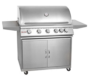Blaze 40 Inch 5-Burner Grill With Rear Burner On Cart 70,000 BTUs 950 sq/in cooking area