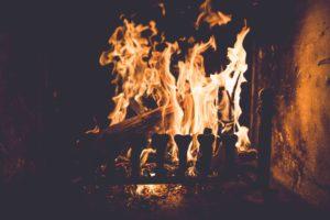 roaring flames