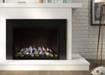 modern fireplace with white wooden mantel