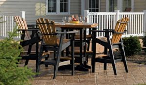 Adirondack chair high top table on patio