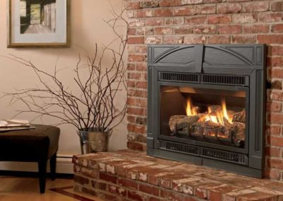 fireplace insert with brick surround