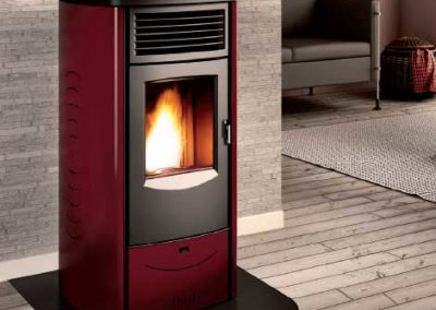 red and silver contemporary stove