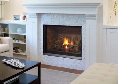 fireplace insert with tile surround and wooden mantel
