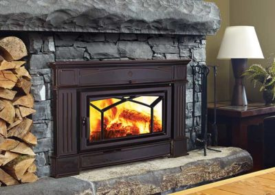 stone fireplace with brown insert