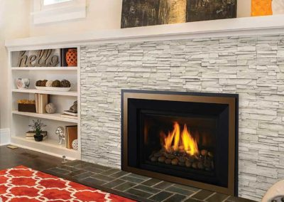 fireplace insert with stone surround