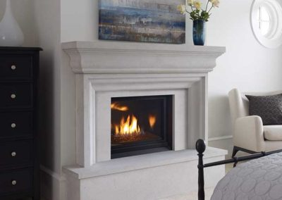 fireplace insert with stone mantel