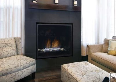 fireplace insert with wooden mantel