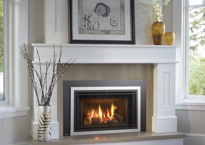 fireplace insert with white mantel