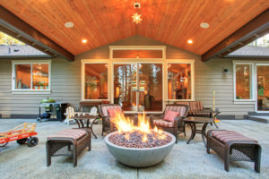 firepit outside under deck